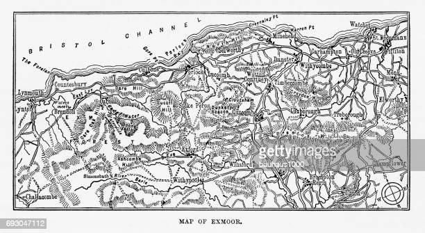 Map of Exmoor, England Victorian Engraving, 1840