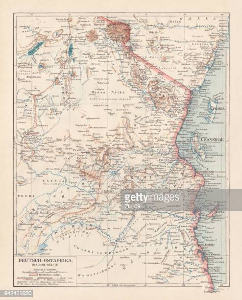illustrazioni stock, clip art, cartoni animati e icone di tendenza di map of formerly german colony east africa, lithograph, published 1897 - kenya