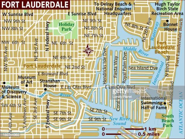 ilustrações, clipart, desenhos animados e ícones de map of fort lauderdale. - estados da costa do golfo