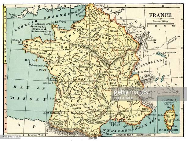 stockillustraties, clipart, cartoons en iconen met kaart van frankrijk 1889 - antiek toestand