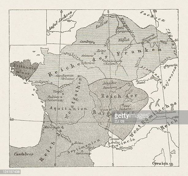 Map of France, barbarian migration (early 6th century), published 1881