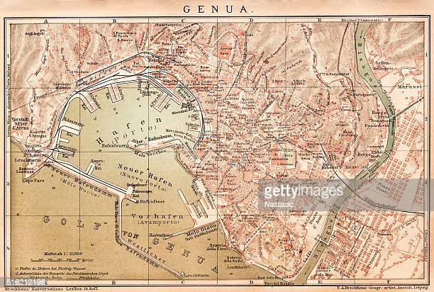 map of genoa 1898 - valle d'aosta stock illustrations, clip art, cartoons, & icons