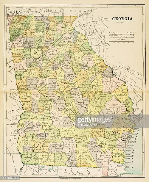 map of georgia 1883 - georgia stock illustrations, clip art, cartoons, & icons