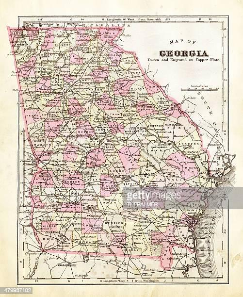ilustrações, clipart, desenhos animados e ícones de mapa do georgia 1894 - atlanta