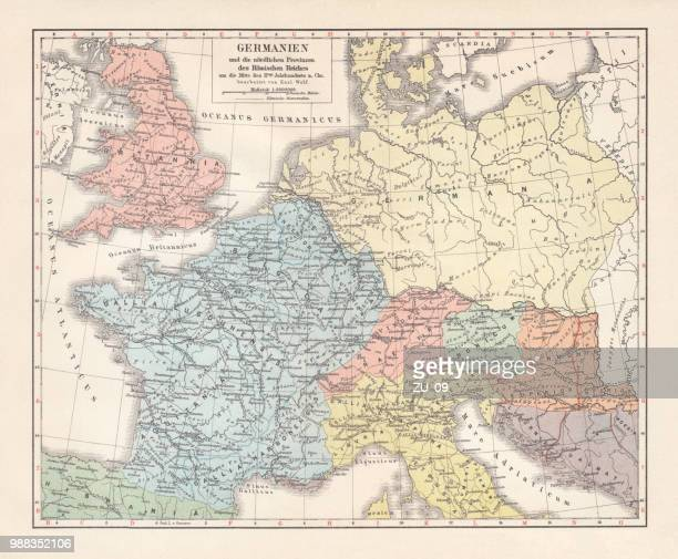 map of germannia, mid-2nd century ad, lithograph, published in 1897 - central europe stock illustrations, clip art, cartoons, & icons
