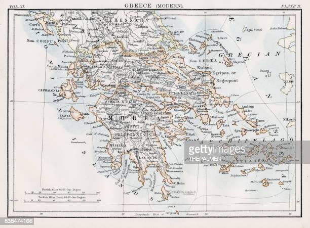 map of greece 1883 - santorini stock illustrations