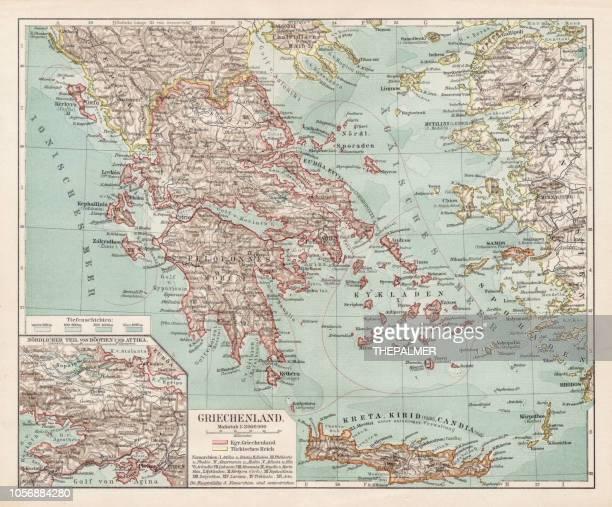 map of greece 1900 - santorini stock illustrations