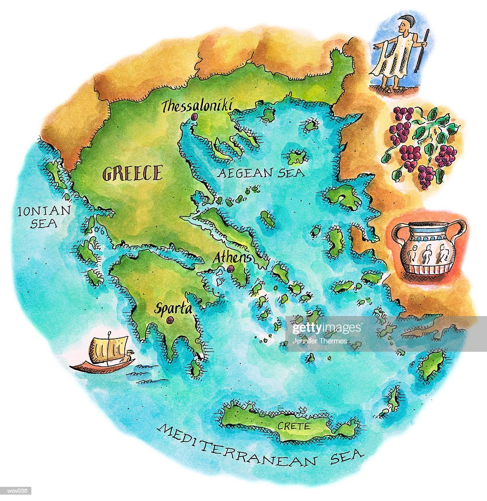 Map of Greece & Greek Isles : Stockillustraties