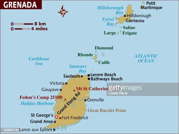 map of grenada. - martinique stock illustrations