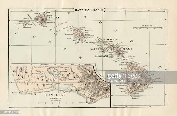 ハワイ 1894 の地図 - オアフ島点のイラスト素材/クリップアート素材/マンガ素材/アイコン素材