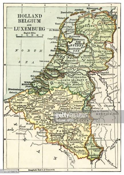 ホランとベルギー 1889 の地図 - リュクサンブール州点のイラスト素材/クリップアート素材/マンガ素材/アイコン素材