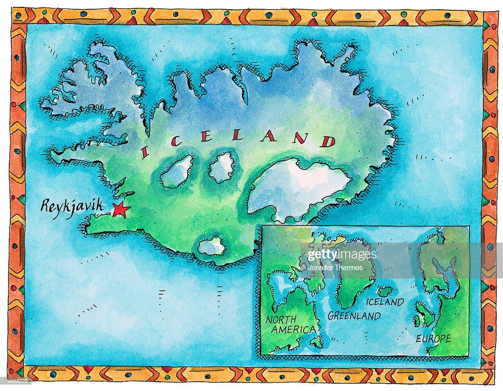 Map of Iceland : Stock Illustration