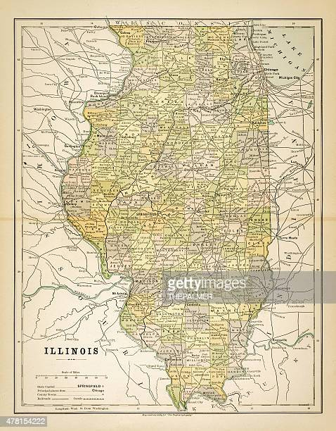 Map of Illinois 1883