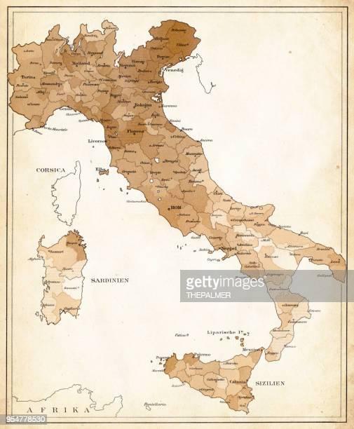 map of iltaly 1894 - sardinia stock illustrations, clip art, cartoons, & icons