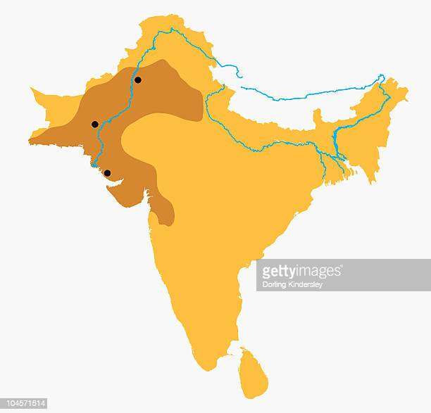 map of indian subcontinent with river indus and indus valley highlighted - ancient civilization stock illustrations, clip art, cartoons, & icons