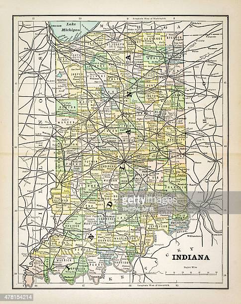 map of indiana 1883 - indianapolis stock illustrations, clip art, cartoons, & icons