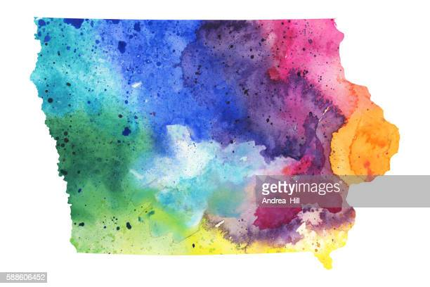 Map of Iowa with Watercolor Texture - Raster Illustration