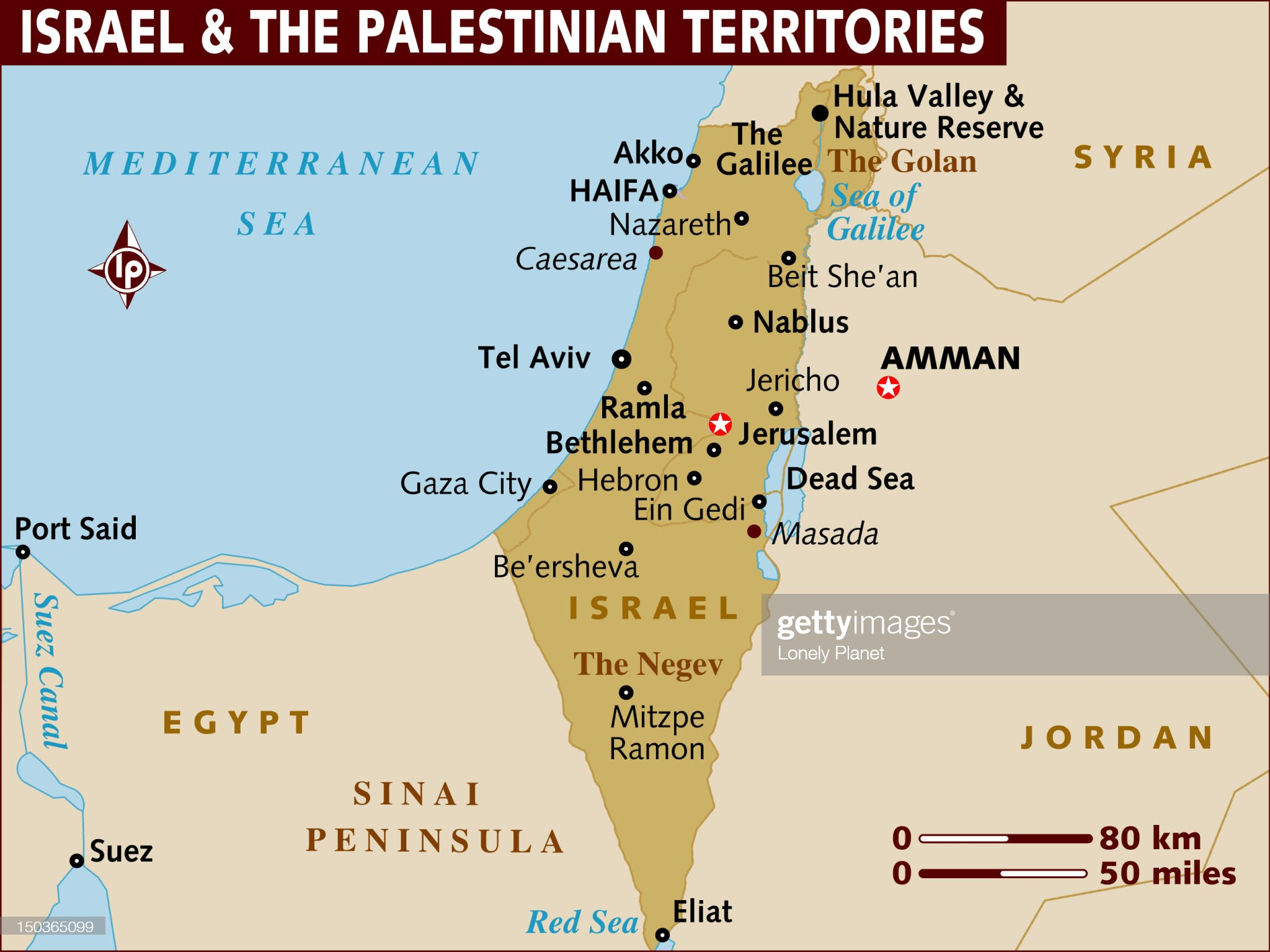 Map of Israel and the Palestinian Territories. : Ilustración de stock
