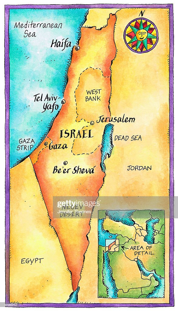 Map of Israel : Stock Illustration