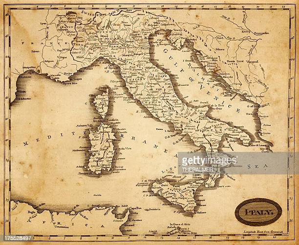 map of italy 1812 - italy stock illustrations