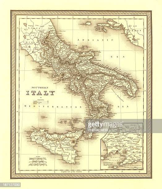 map of italy 1836 - naples italy stock illustrations