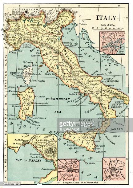 map of italy 1889 - naples italy stock illustrations