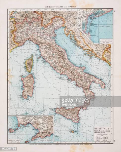 map of italy 1896 - sardinia stock illustrations, clip art, cartoons, & icons
