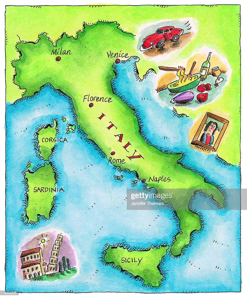 Map of Italy : Stockillustraties