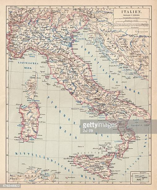 Map of Italy, lithograph, published in 1876
