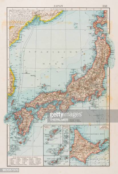 map of japan 1896 - tokyo japan stock illustrations, clip art, cartoons, & icons