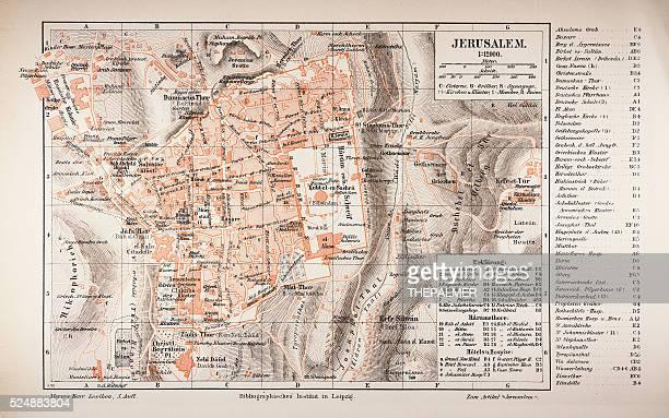 map of jerusalem 1895 - historical palestine stock illustrations