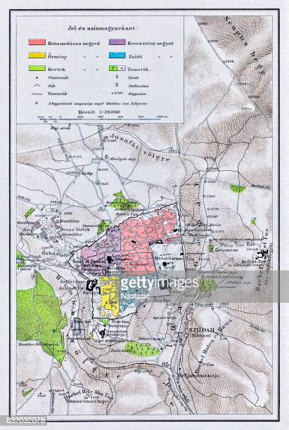 map of jerusalem 1895 - jerusalem stock illustrations, clip art, cartoons, & icons