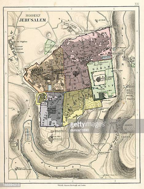 map of jerusalem - historical palestine stock illustrations
