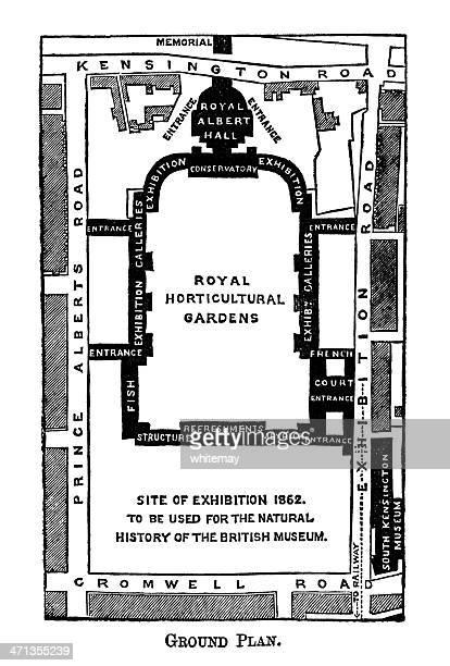 map of kensington museums area, london - victoria and albert museum london stock illustrations