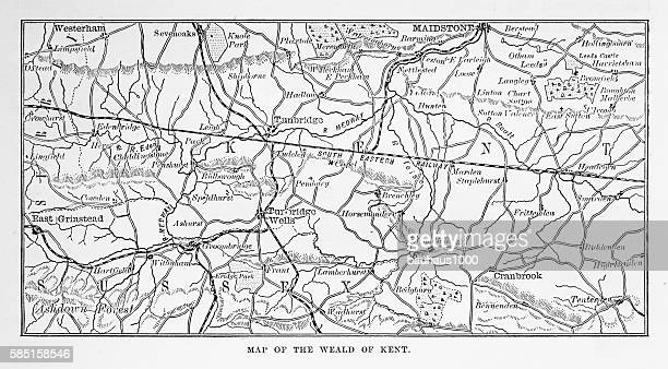 Map of Kent and Neighborhoods, England Victorian Engraving, 1840