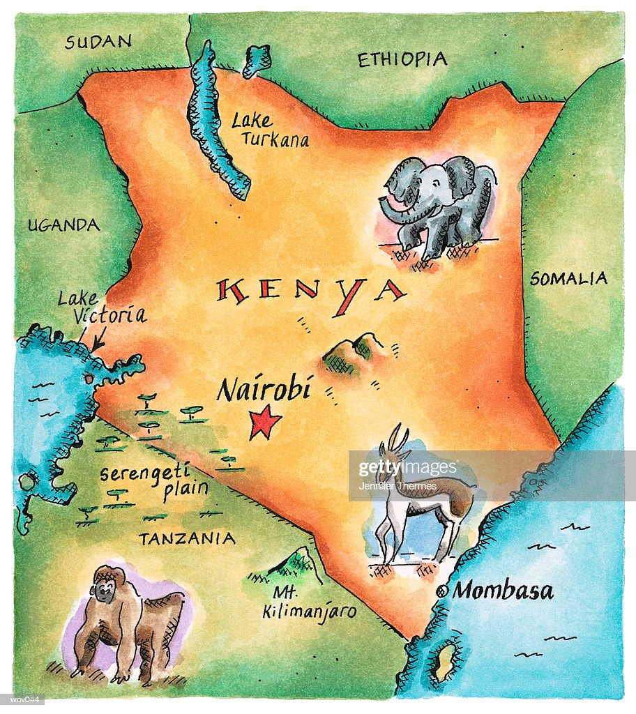 Map of Kenya : Stockillustraties