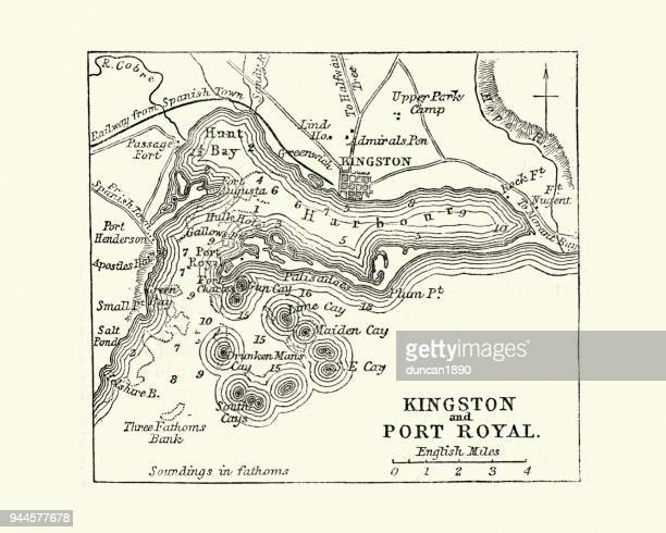 map of kingston and port royal, jamaica, 19th century - jamaica stock illustrations, clip art, cartoons, & icons