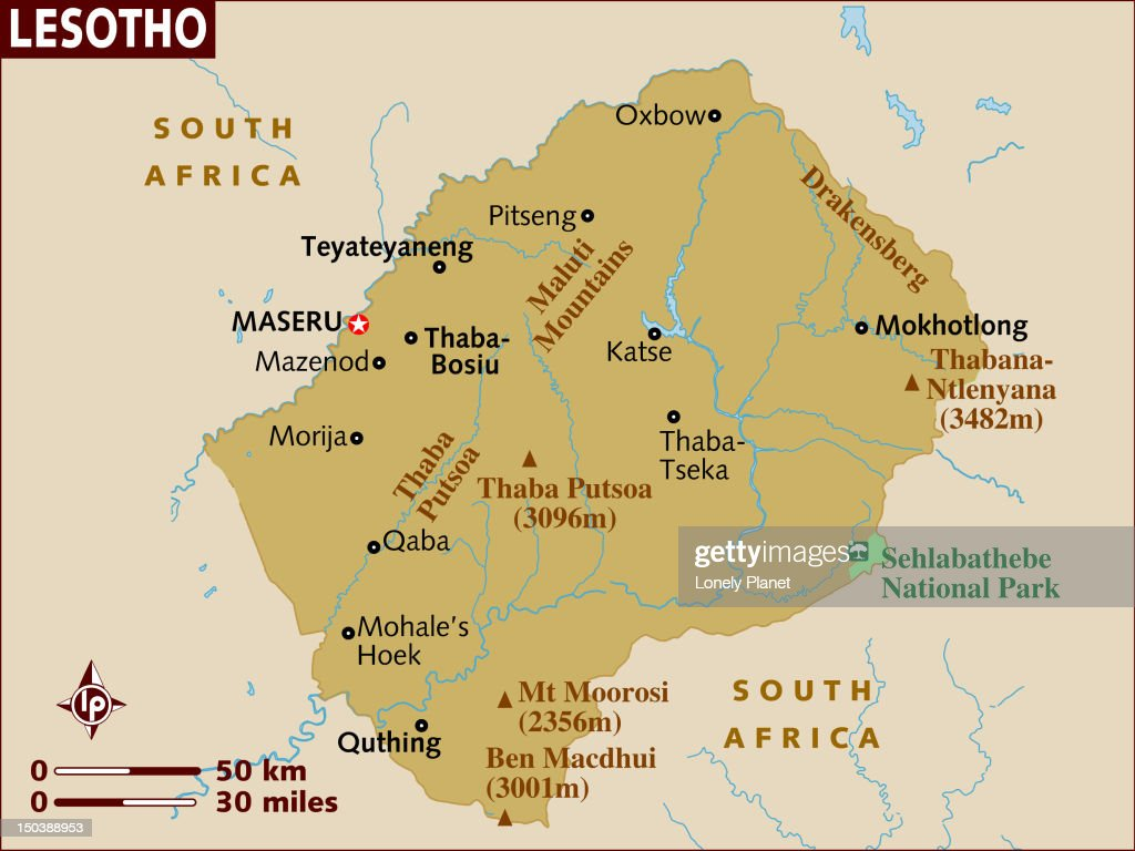 Map of Lesotho. : Stock Illustration