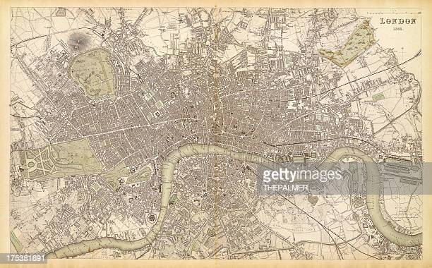map of london 1843 - london england stock illustrations