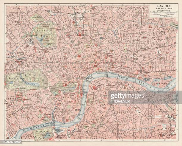 Map Of London 1900.Map Of London 1900 Stock Illustration Getty Images