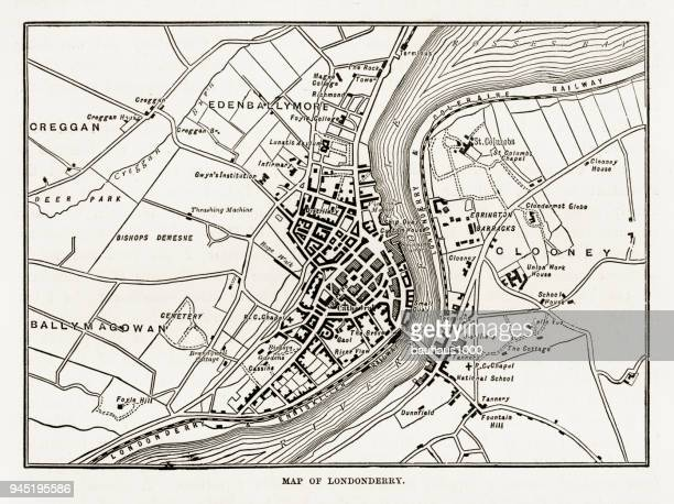 map of londonderry, derry, donegal, northern ireland, victorian engraving, 1840 - derry northern ireland stock illustrations