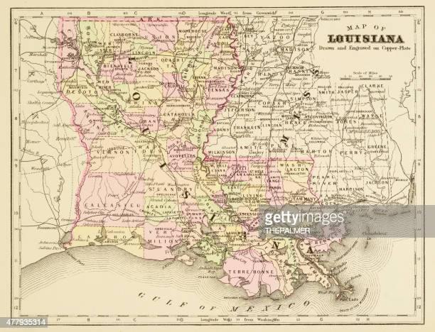 map of louisiana 1894 - louisiana stock illustrations, clip art, cartoons, & icons