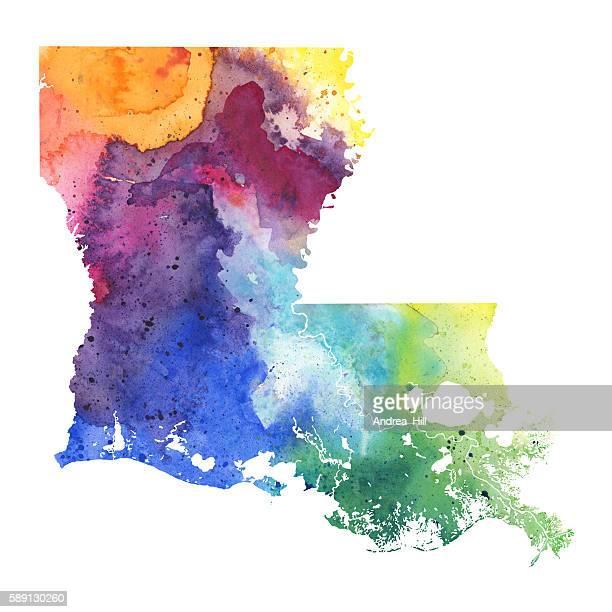 map of louisiana with watercolor texture - raster illustration - louisiana stock illustrations, clip art, cartoons, & icons