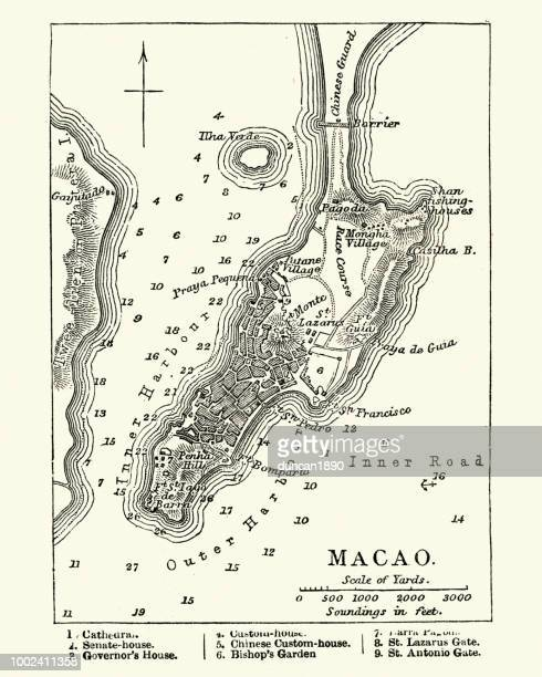 map of macau, 19th century - macao stock illustrations