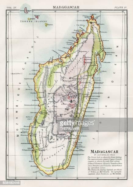 map of madagascar 1883 - madagascar stock illustrations, clip art, cartoons, & icons