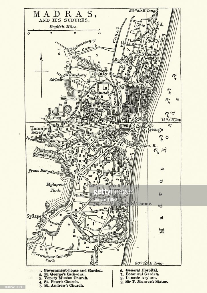 Madras India Map.Map Of Madras India 19th Century Stock Illustration Getty Images