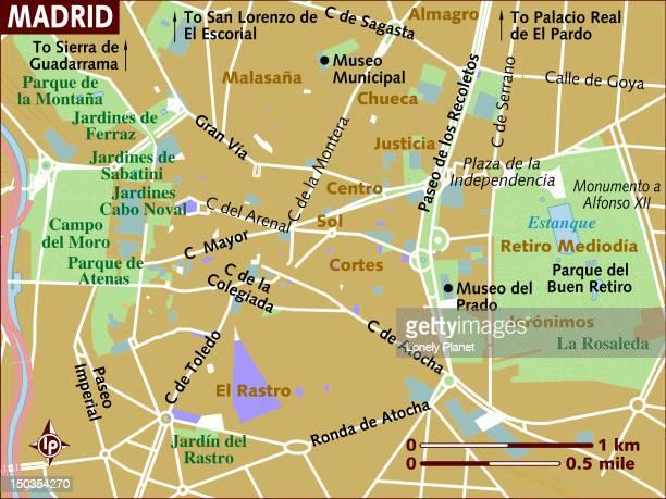 map of madrid. - málaga province stock illustrations, clip art, cartoons, & icons