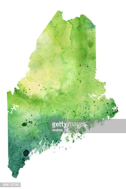 Map of Maine with Watercolor Texture - Raster Illustration