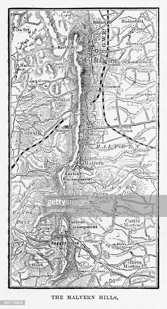 Map Of Malvern Hills In Worcestershire England Victorian Engraving ...