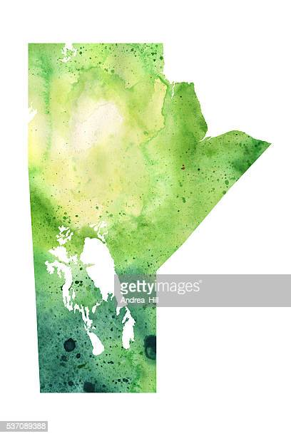 map of manitoba with watercolor texture - raster illustration - manitoba stock illustrations